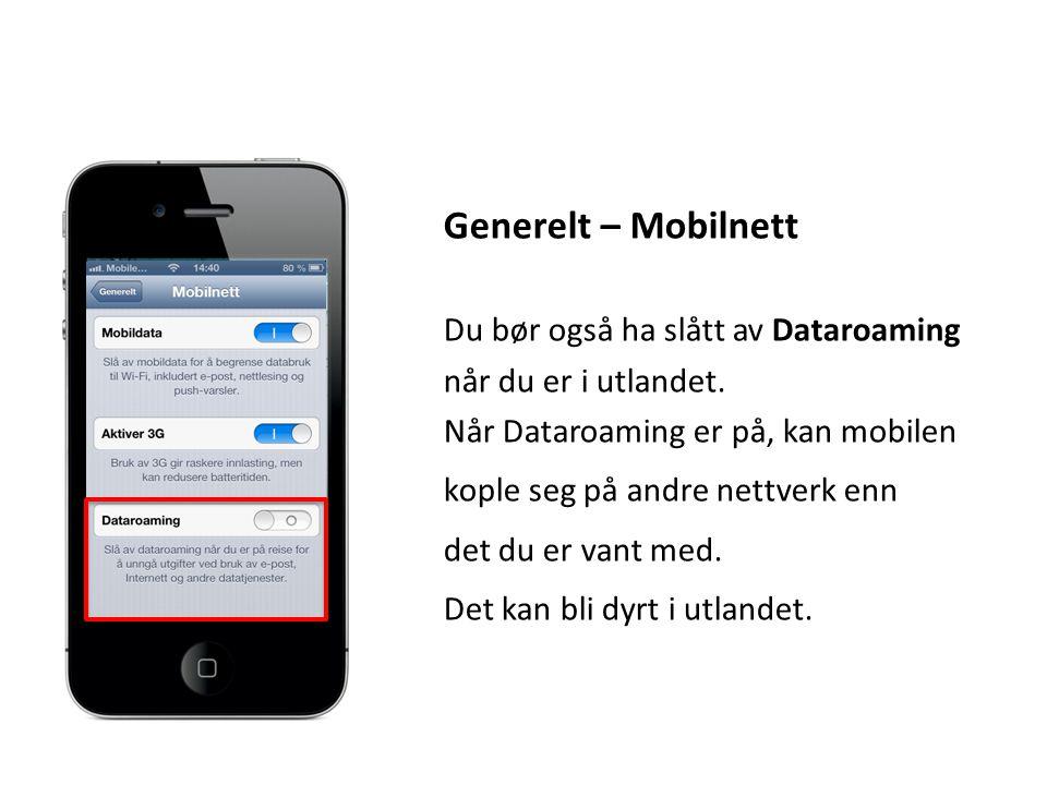 Generelt – Mobilnett Du bør også ha slått av Dataroaming