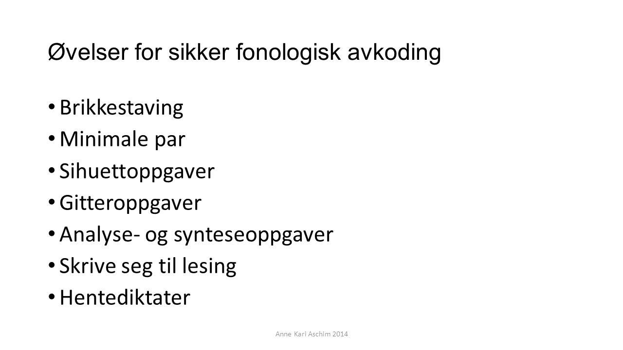 Øvelser for sikker fonologisk avkoding