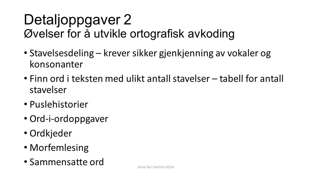 Detaljoppgaver 2 Øvelser for å utvikle ortografisk avkoding