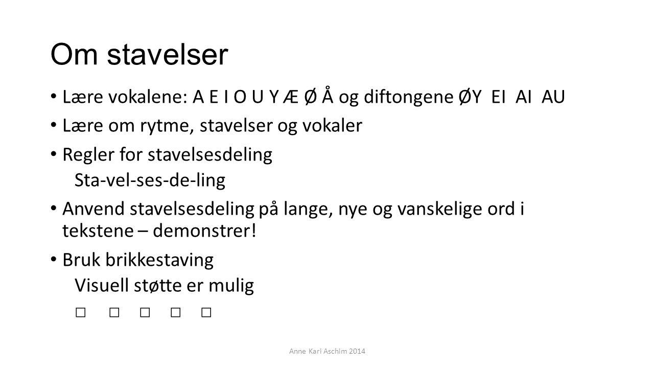 Om stavelser Lære vokalene: A E I O U Y Æ Ø Å og diftongene ØY EI AI AU. Lære om rytme, stavelser og vokaler.