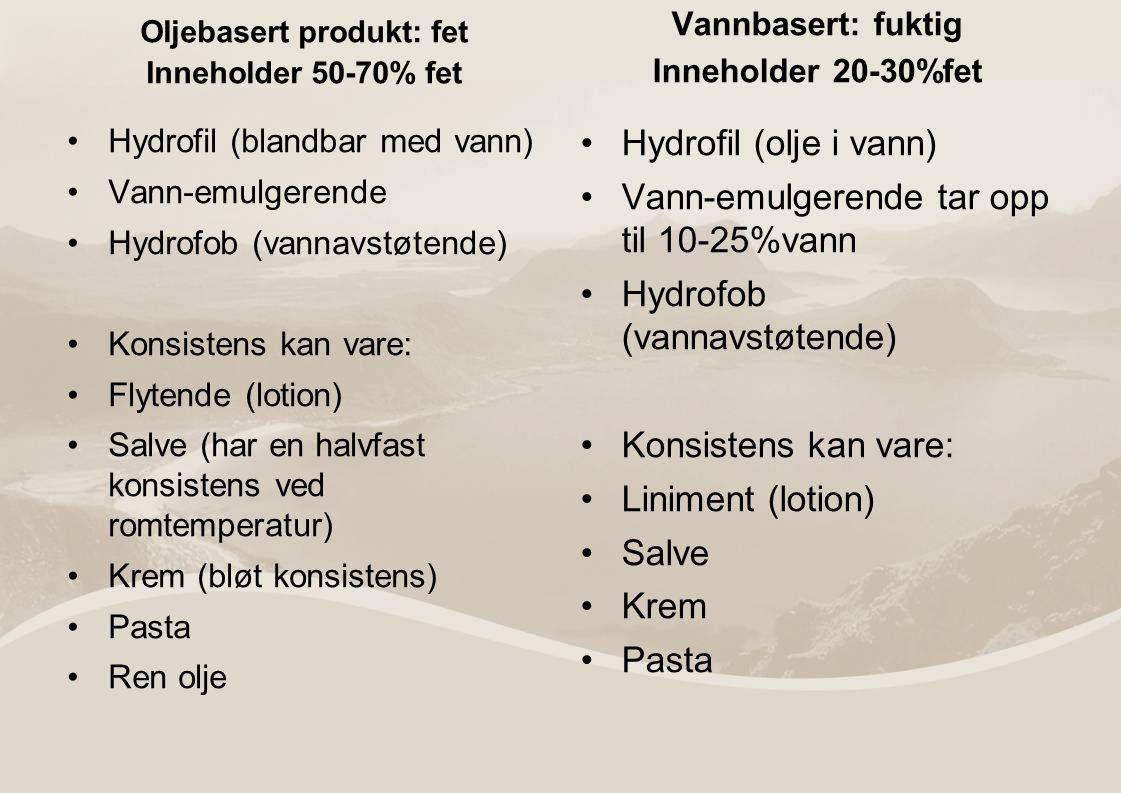 Oljebasert produkt: fet