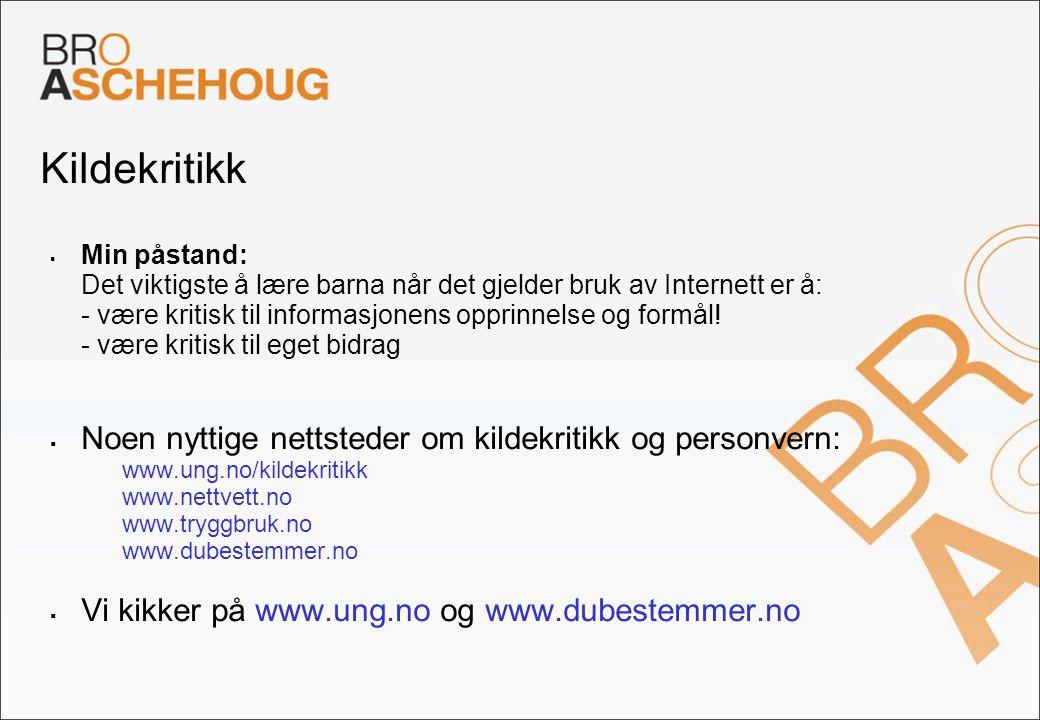 Kildekritikk Noen nyttige nettsteder om kildekritikk og personvern:
