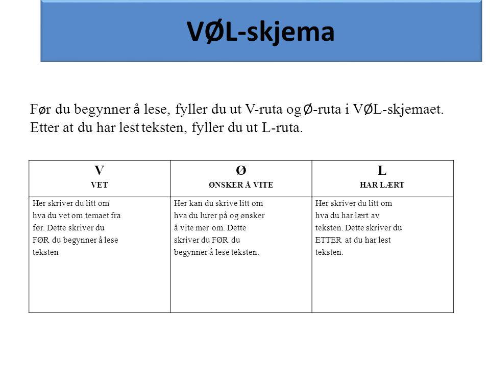 Før du begynner å lese, fyller du ut V-ruta og Ø-ruta i VØL-skjemaet