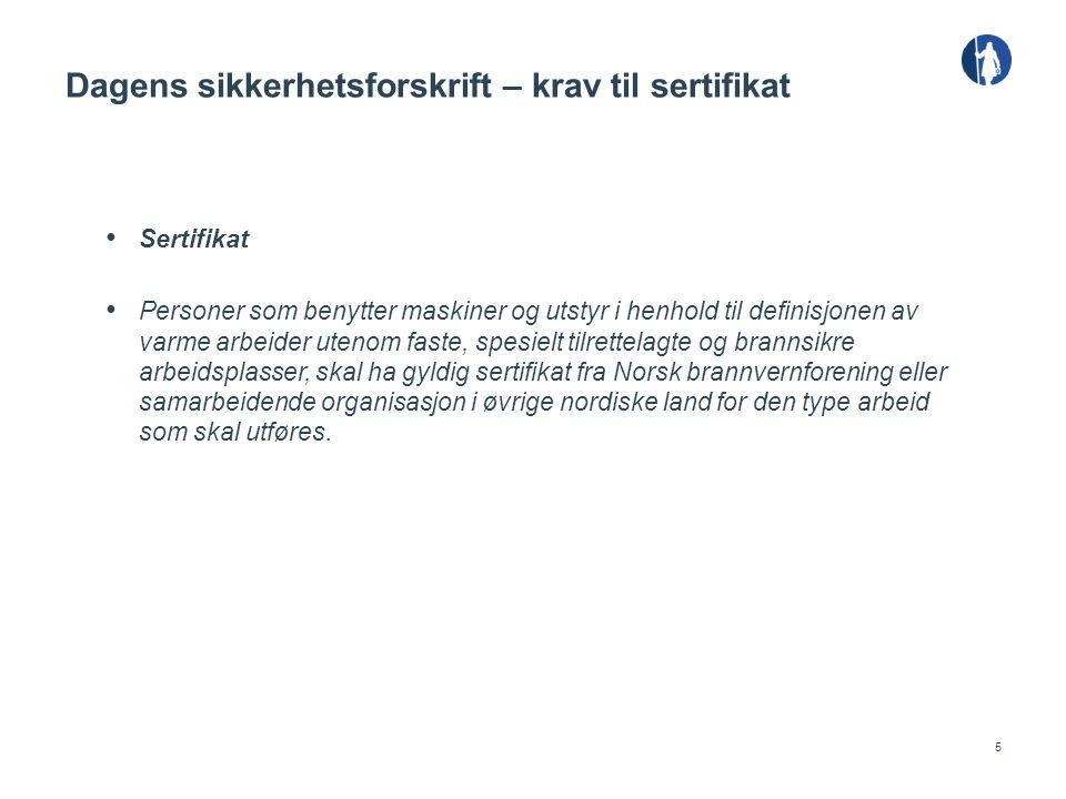 Dagens sikkerhetsforskrift – krav til sertifikat
