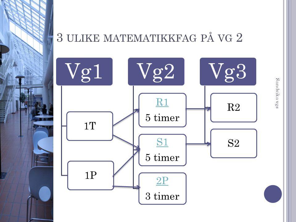 3 ulike matematikkfag på vg 2