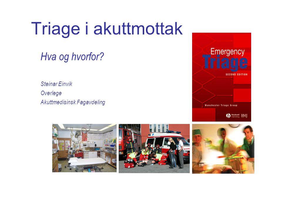 Triage i akuttmottak Hva og hvorfor Steinar Einvik Overlege