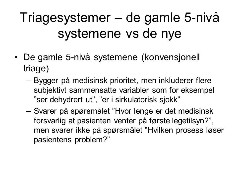 Triagesystemer – de gamle 5-nivå systemene vs de nye