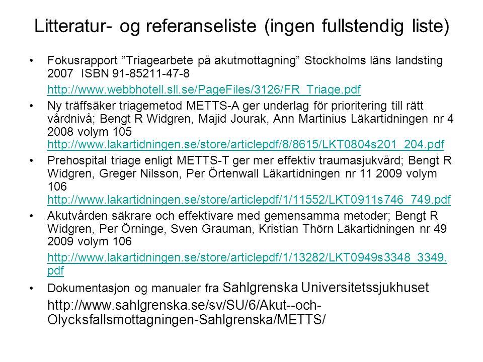 Litteratur- og referanseliste (ingen fullstendig liste)