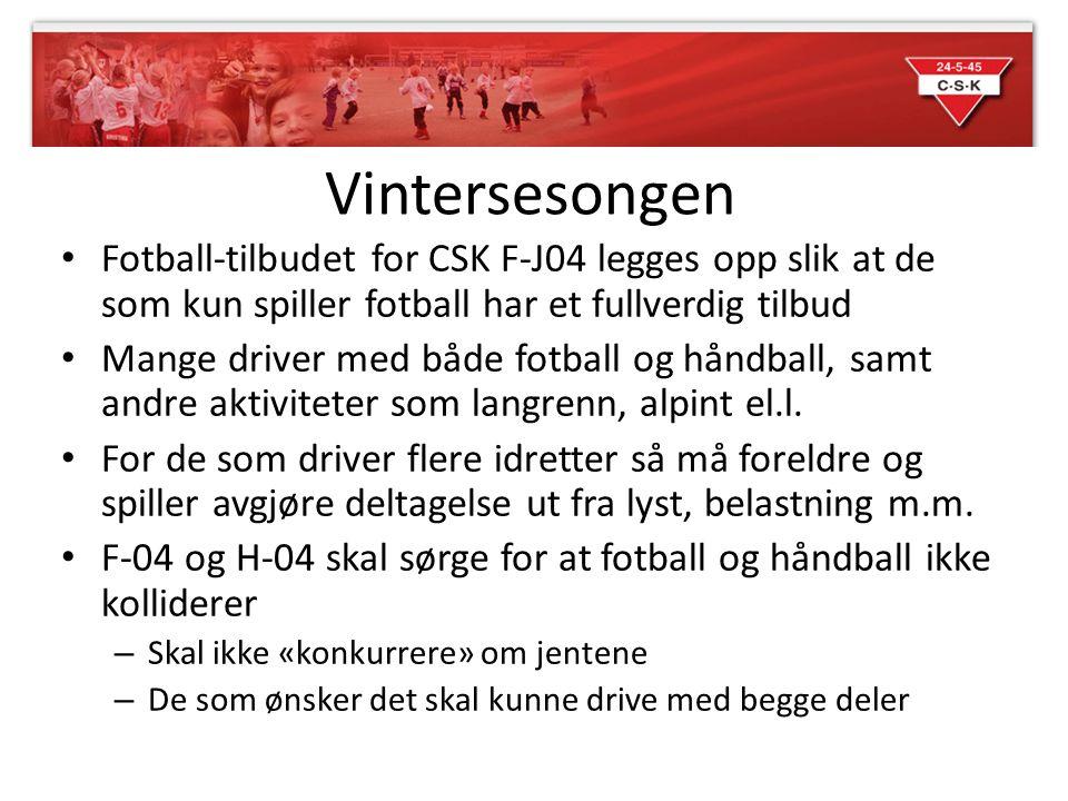 Vintersesongen Fotball-tilbudet for CSK F-J04 legges opp slik at de som kun spiller fotball har et fullverdig tilbud.