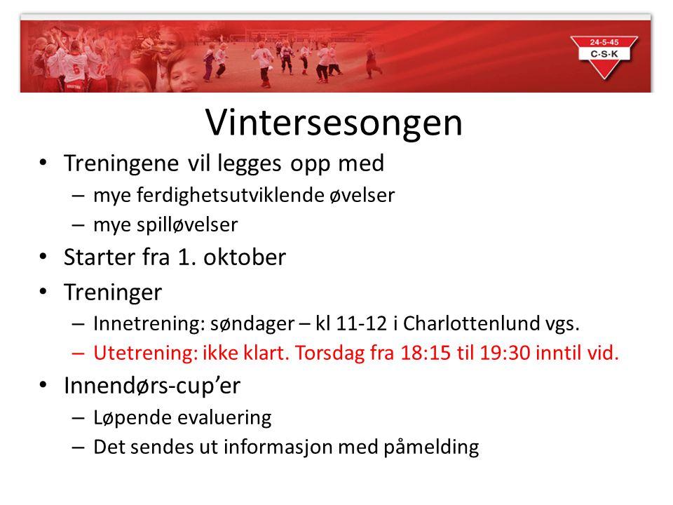 Vintersesongen Treningene vil legges opp med Starter fra 1. oktober