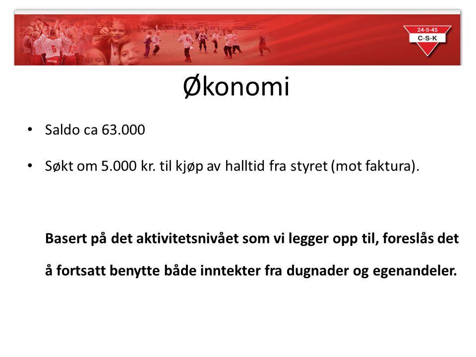 Økonomi Saldo ca 63.000. Søkt om 5.000 kr. til kjøp av halltid fra styret (mot faktura).