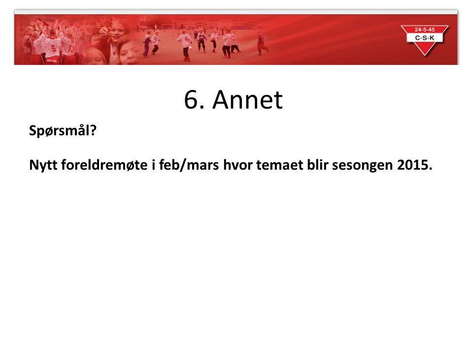 6. Annet Spørsmål Nytt foreldremøte i feb/mars hvor temaet blir sesongen 2015.