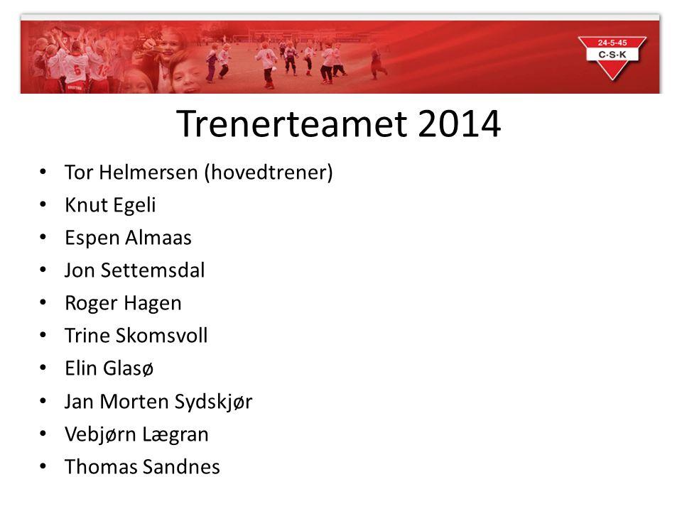 Trenerteamet 2014 Tor Helmersen (hovedtrener) Knut Egeli Espen Almaas