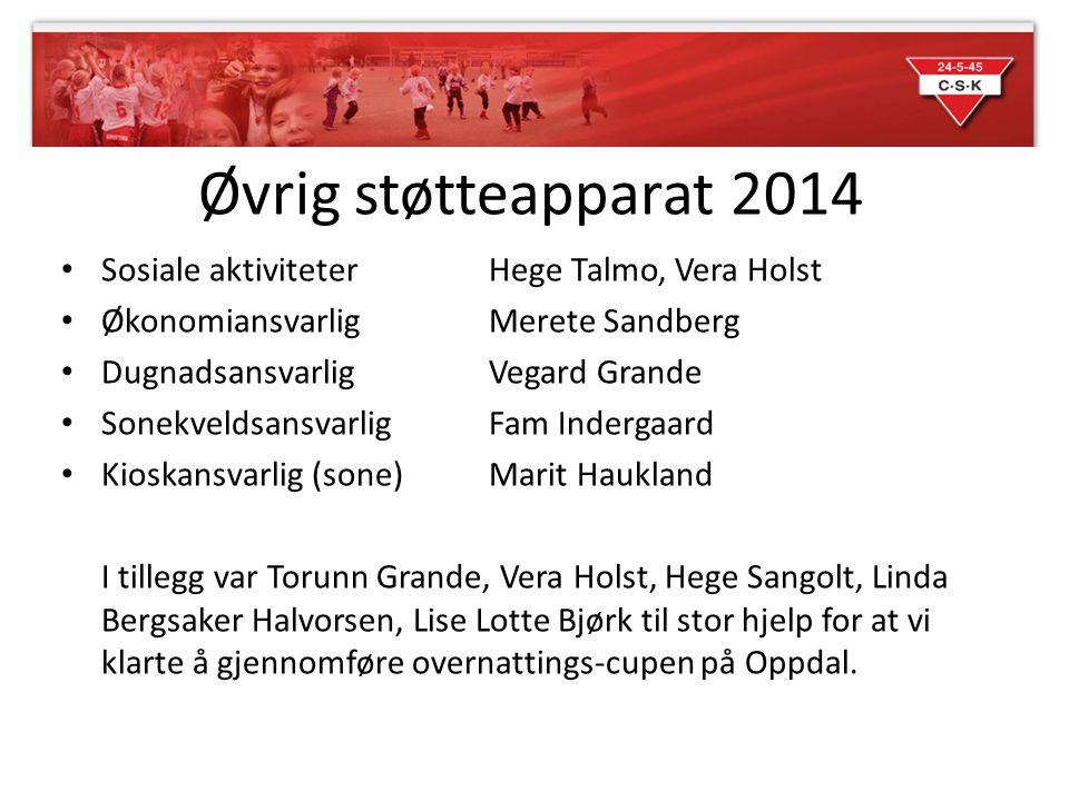 Øvrig støtteapparat 2014 Sosiale aktiviteter Hege Talmo, Vera Holst