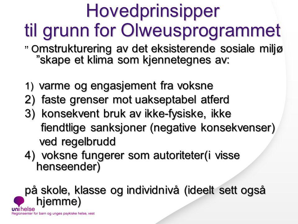 Hovedprinsipper til grunn for Olweusprogrammet