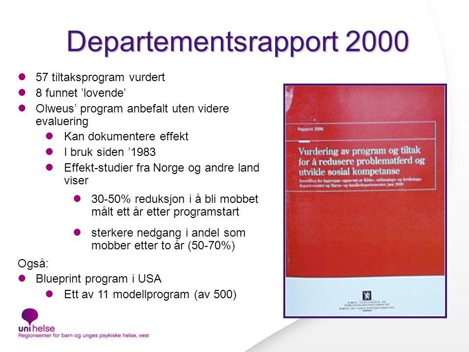 Departementsrapport 2000 57 tiltaksprogram vurdert 8 funnet 'lovende'