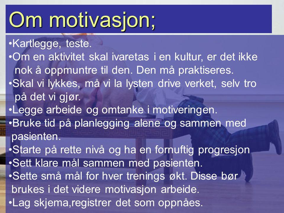 Om motivasjon; Kartlegge, teste.