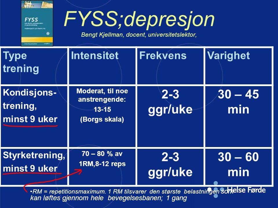 FYSS;depresjon Bengt Kjellman, docent, universitetslektor,