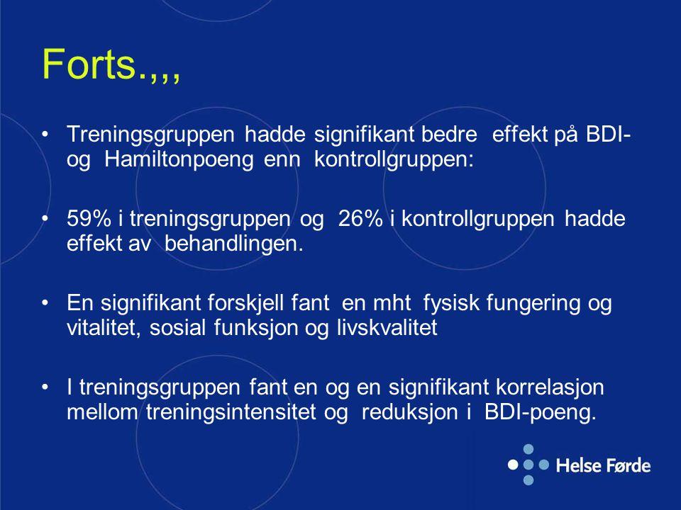 Forts.,,, Treningsgruppen hadde signifikant bedre effekt på BDI- og Hamiltonpoeng enn kontrollgruppen: