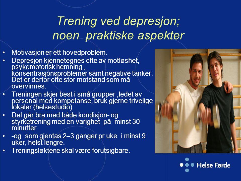 Trening ved depresjon; noen praktiske aspekter