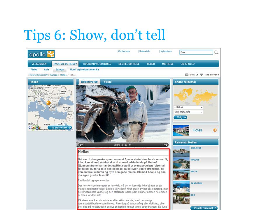 Tips 6: Show, don't tell
