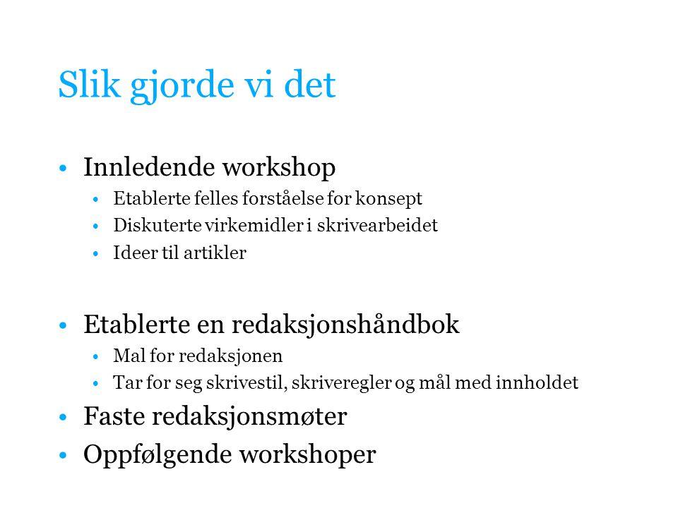 Slik gjorde vi det Innledende workshop Etablerte en redaksjonshåndbok