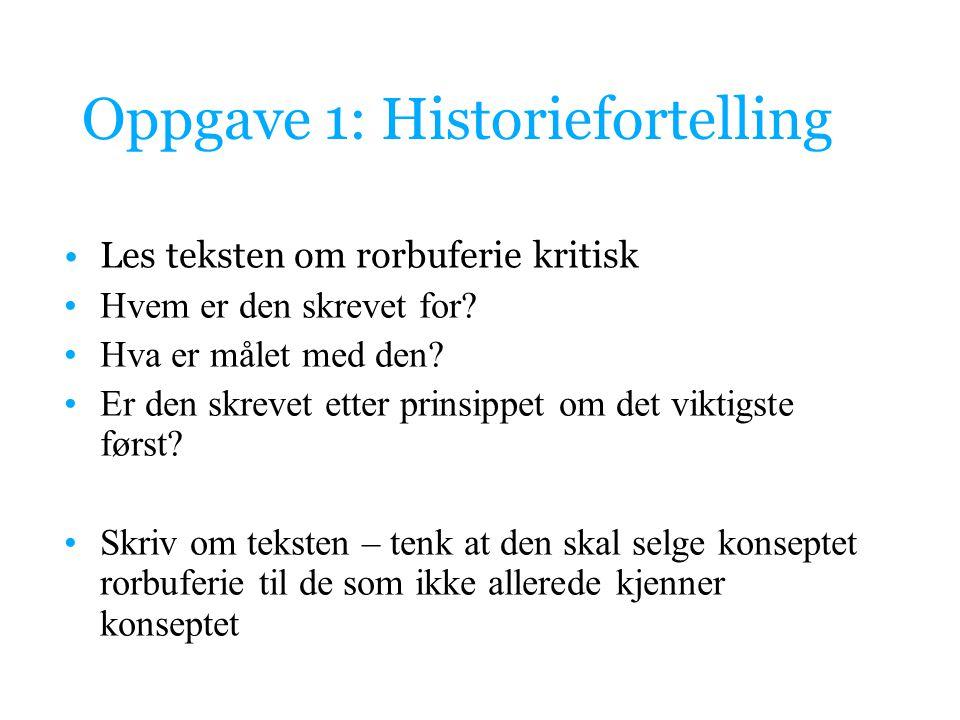 Oppgave 1: Historiefortelling