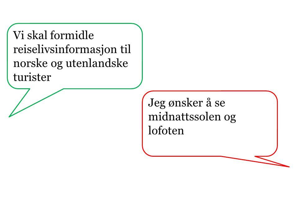 Vi skal formidle reiselivsinformasjon til norske og utenlandske turister