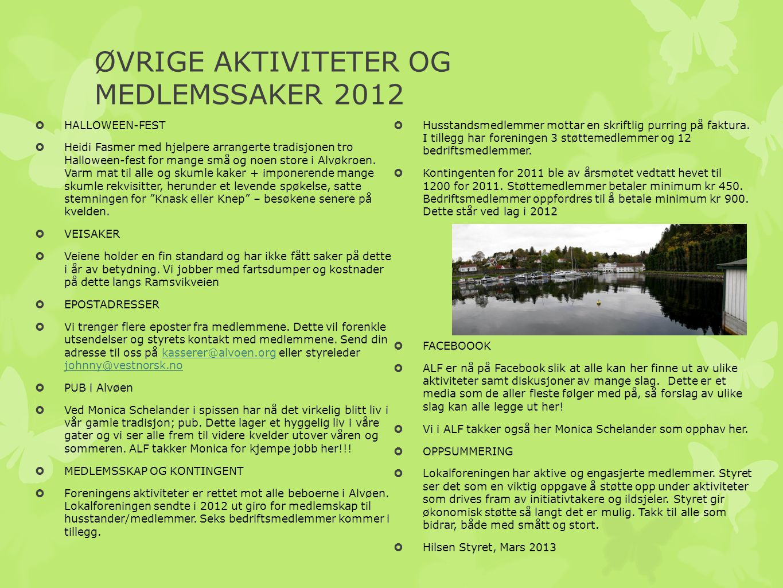 ØVRIGE AKTIVITETER OG MEDLEMSSAKER 2012