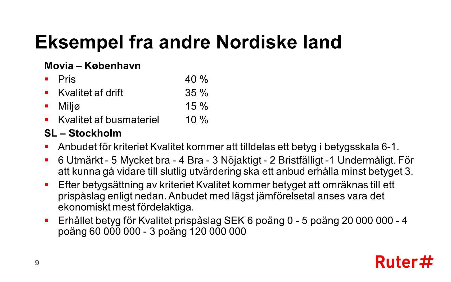 Eksempel fra andre Nordiske land