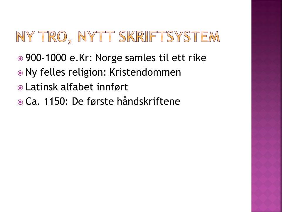 Ny tro, nytt skriftsystem