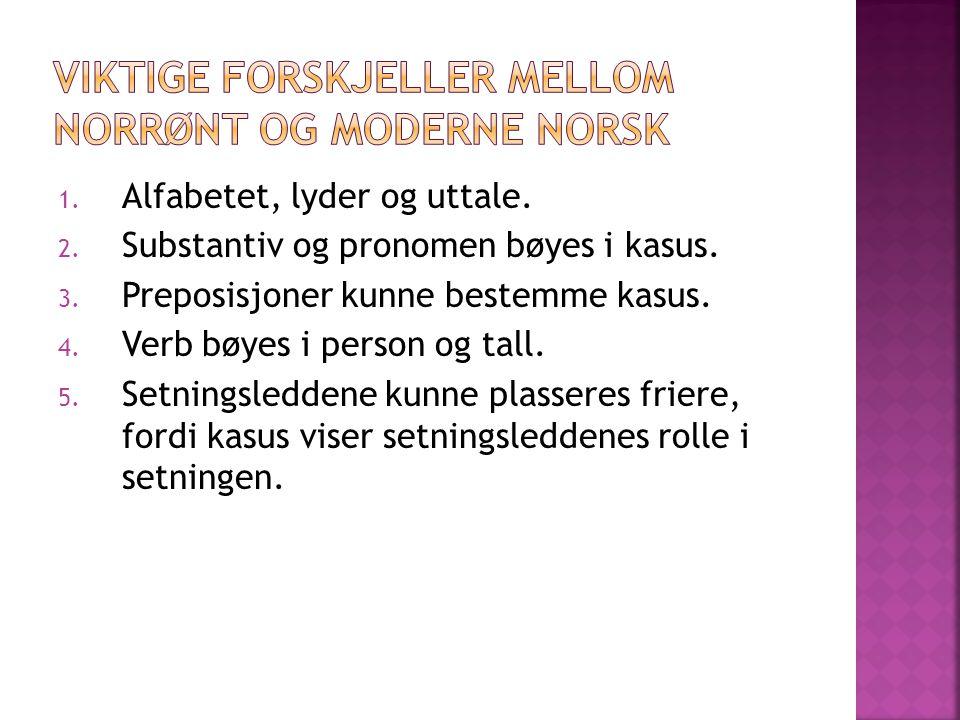 Viktige forskjeller mellom norrønt og moderne norsk