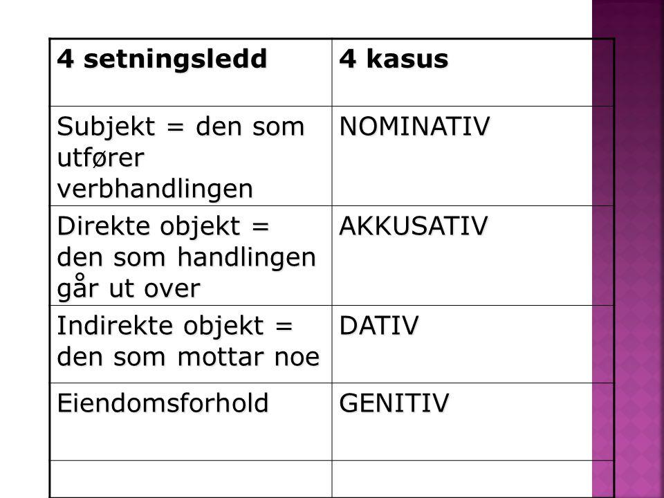 4 setningsledd 4 kasus. Subjekt = den som utfører verbhandlingen. NOMINATIV. Direkte objekt = den som handlingen går ut over.