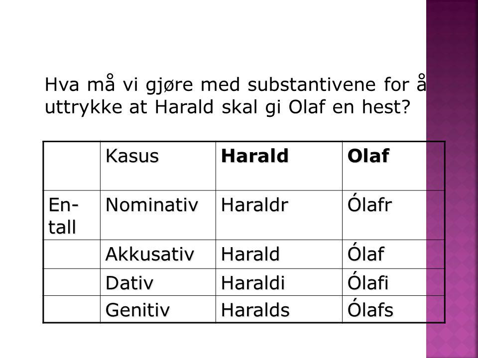 Hva må vi gjøre med substantivene for å uttrykke at Harald skal gi Olaf en hest
