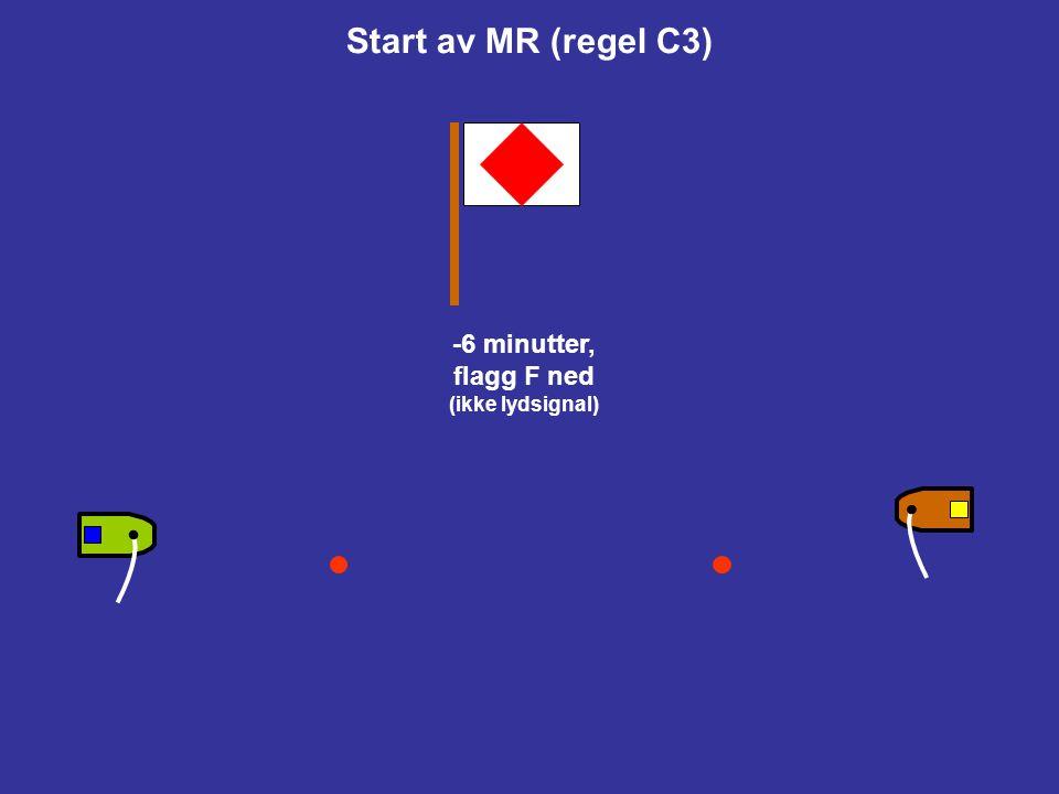 Start av MR (regel C3) -6 minutter, flagg F ned (ikke lydsignal)