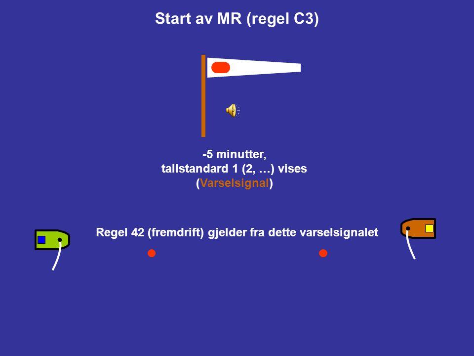 Start av MR (regel C3) -5 minutter, tallstandard 1 (2, …) vises