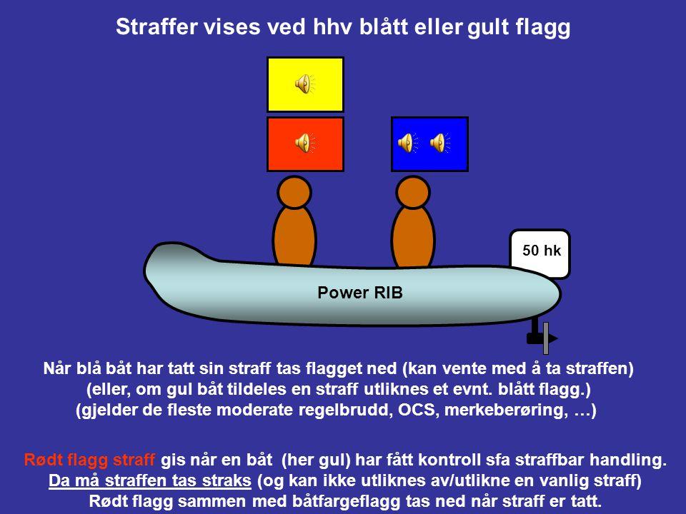 Straffer vises ved hhv blått eller gult flagg