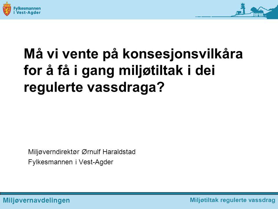 Miljøverndirektør Ørnulf Haraldstad Fylkesmannen i Vest-Agder