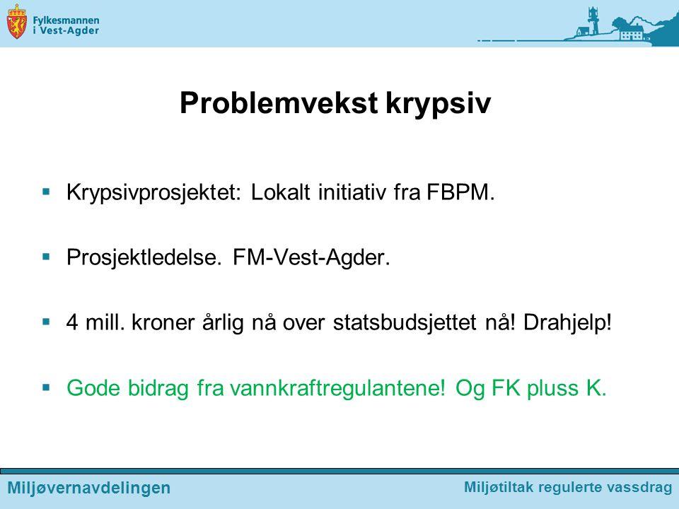 Problemvekst krypsiv Krypsivprosjektet: Lokalt initiativ fra FBPM.