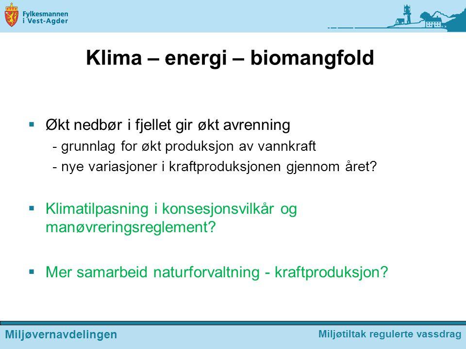 Klima – energi – biomangfold