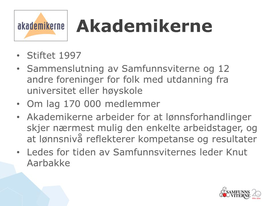Akademikerne Stiftet 1997. Sammenslutning av Samfunnsviterne og 12 andre foreninger for folk med utdanning fra universitet eller høyskole.