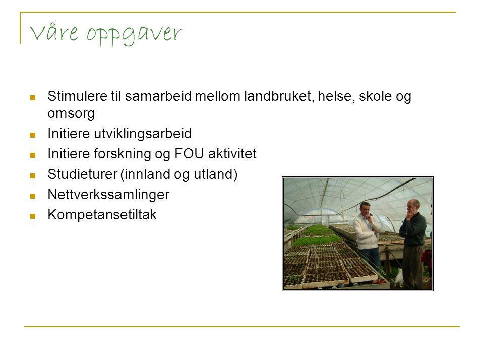 Våre oppgaver Stimulere til samarbeid mellom landbruket, helse, skole og omsorg. Initiere utviklingsarbeid.