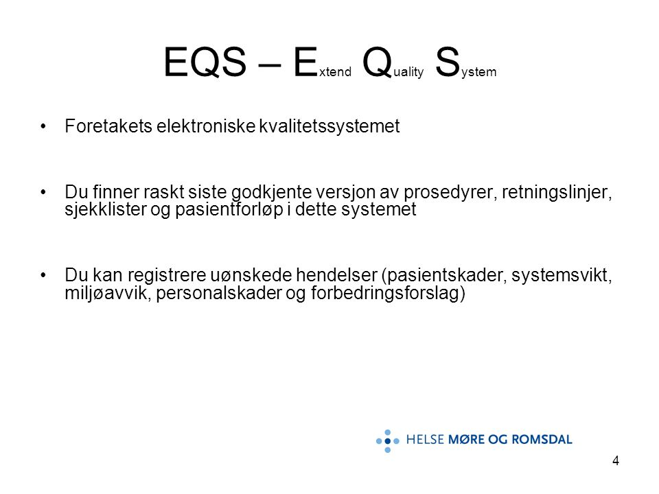 EQS – Extend Quality System