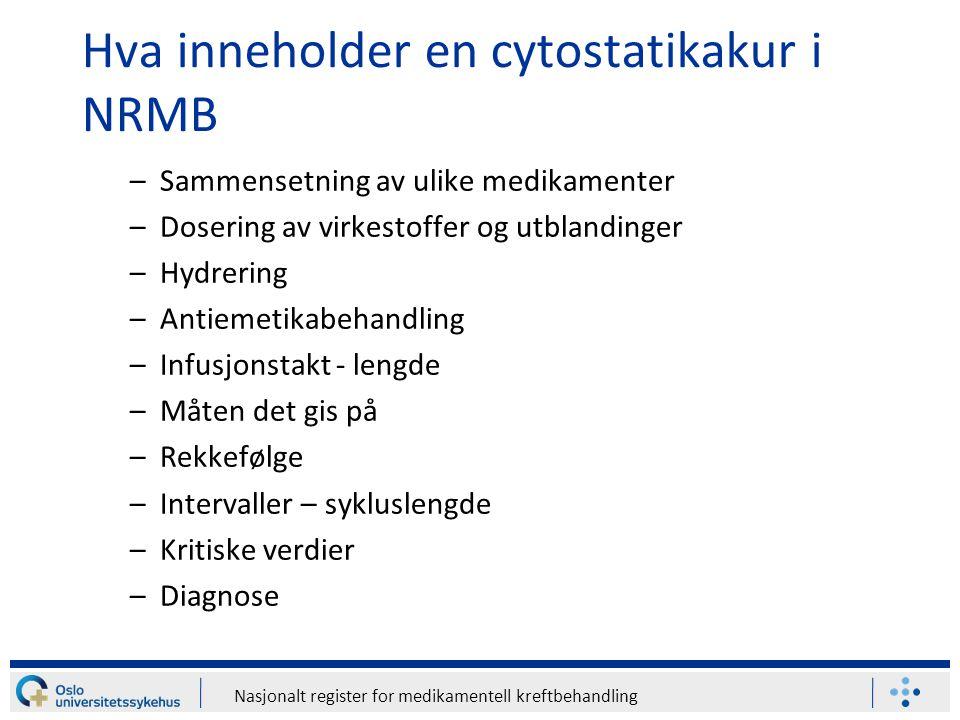 Hva inneholder en cytostatikakur i NRMB
