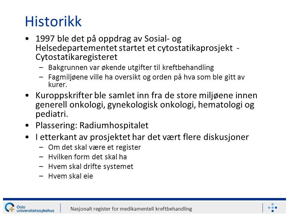Historikk 1997 ble det på oppdrag av Sosial- og Helsedepartementet startet et cytostatikaprosjekt - Cytostatikaregisteret.
