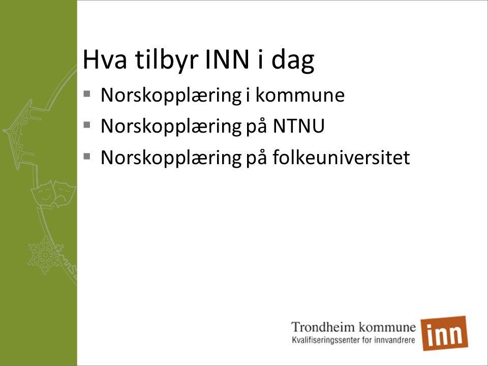 Hva tilbyr INN i dag Norskopplæring i kommune Norskopplæring på NTNU