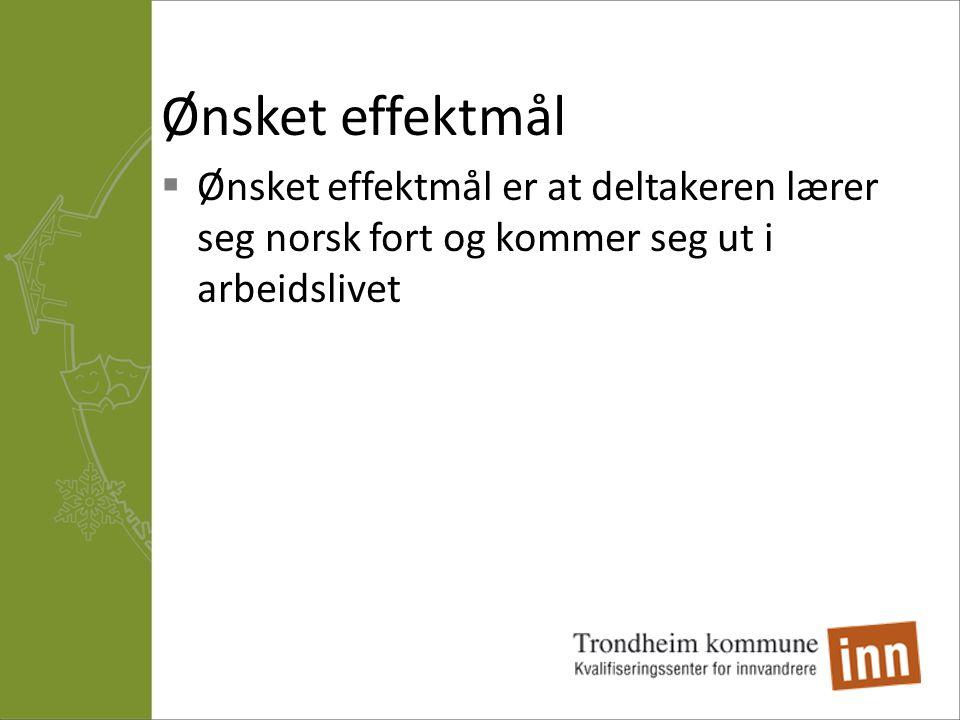 Ønsket effektmål Ønsket effektmål er at deltakeren lærer seg norsk fort og kommer seg ut i arbeidslivet.