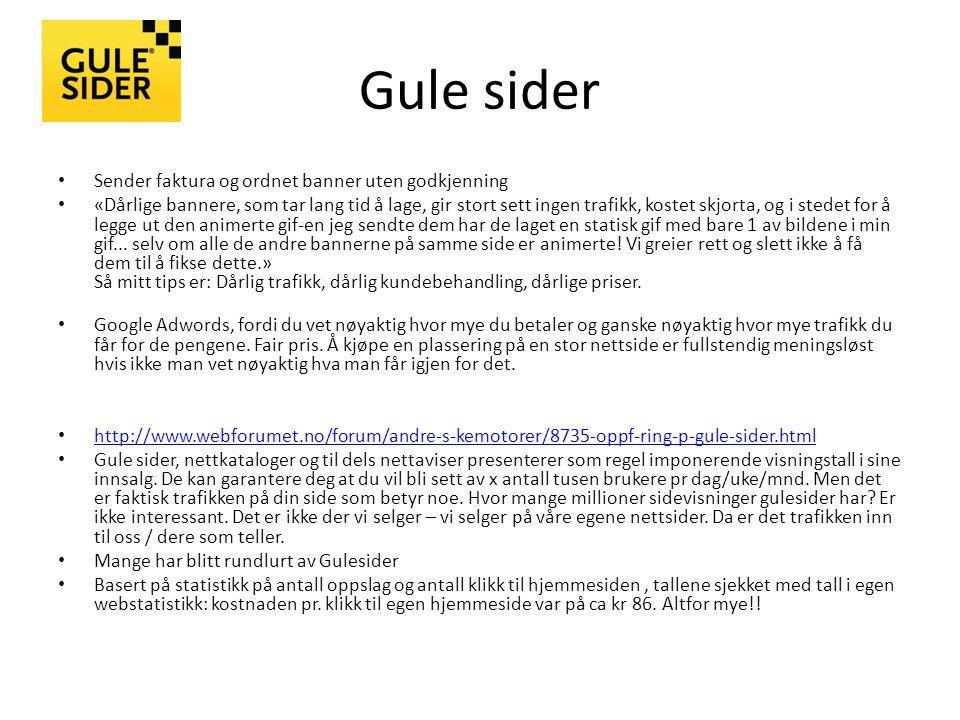 Gule sider Sender faktura og ordnet banner uten godkjenning