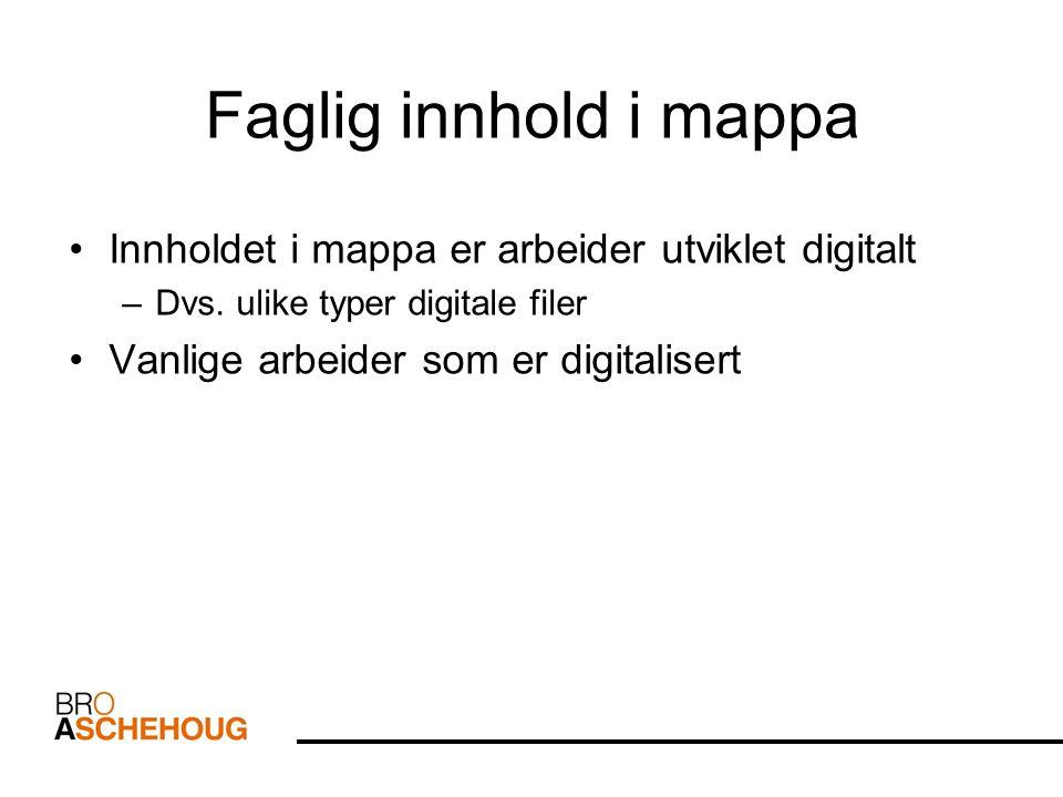 Faglig innhold i mappa Innholdet i mappa er arbeider utviklet digitalt