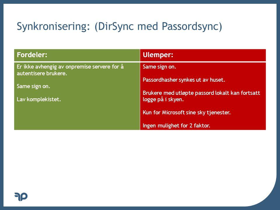 Synkronisering: (DirSync med Passordsync)